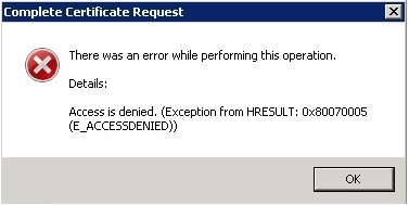 HRESULT:  0x80070005 - Access Denied