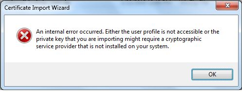 Internal Error occurred User profile not accessible