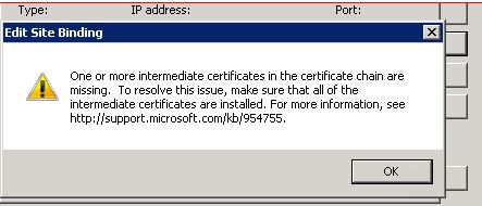 Missing Intermediate Certificate Error