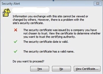 The security Certificate Not trusted By Outlook