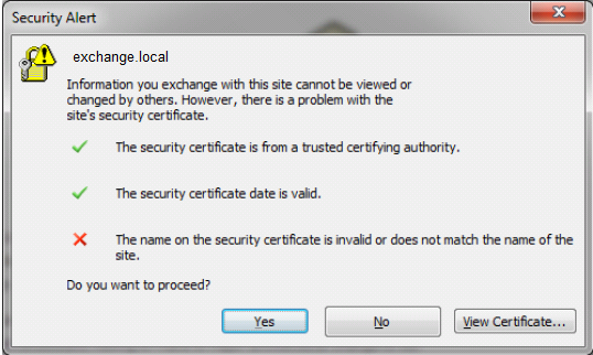 Invalid Security Certificate Name